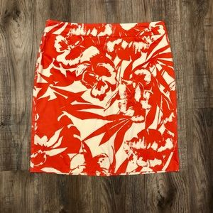 NY&Co Orange Floral Pencil Skirt